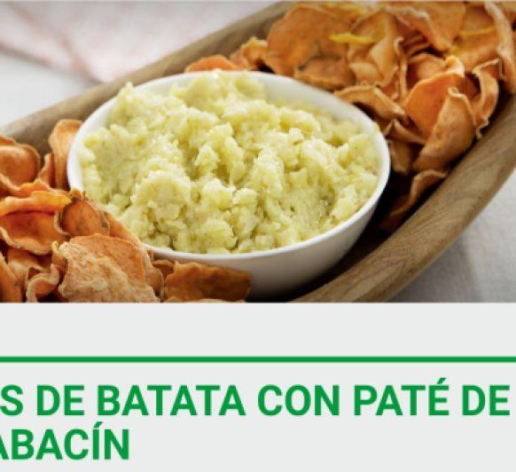 Chips de batata con paté de calabacín