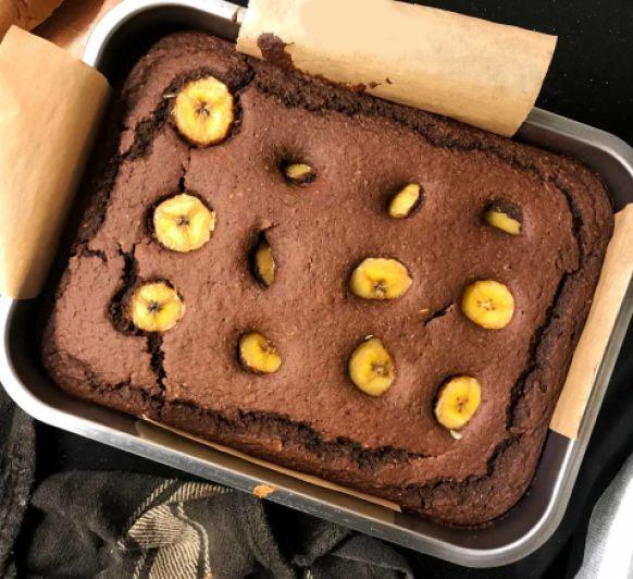 Brownie saludable de avena y plátano
