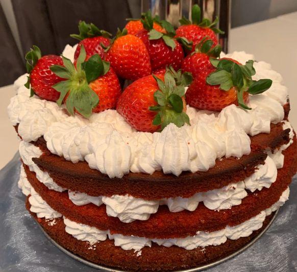 Nude cake de nata y fresas